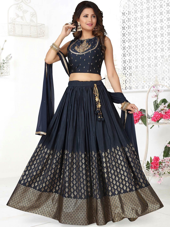 Gorgeous navy cotton silk lehenga choli for wedding ceremony?imgeng=w_400