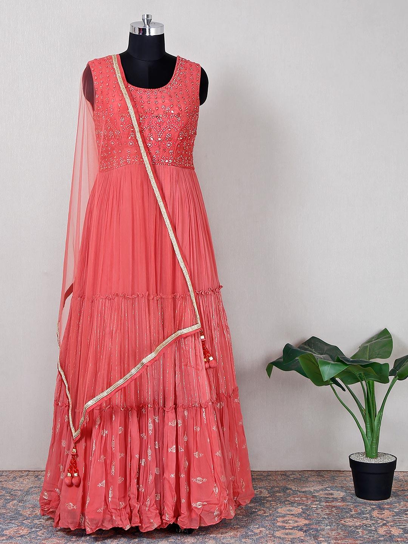 gorgeous peach net wedding wear anarkali suit?imgeng=w_400