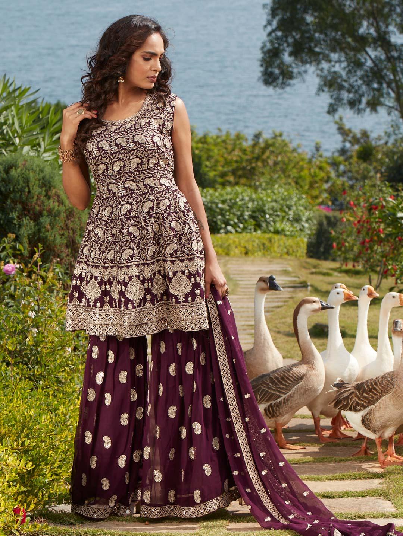 Gorgeous purple georgette punjabi style wedding wear sharara suit?imgeng=w_400