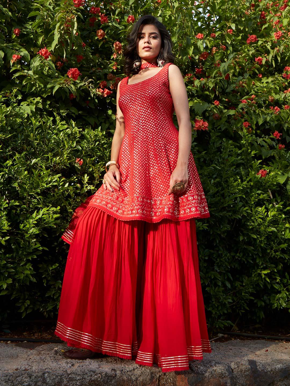 Gorgeous red georgette punjabi style wedding wear sharara suit?imgeng=w_400
