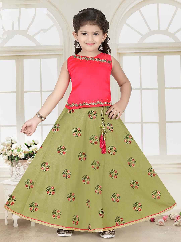 Green and pink cotton silk lehenga choli?imgeng=w_400