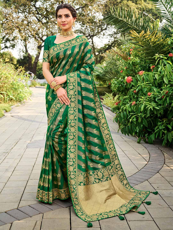 Green colour banarasi silk for wedding function?imgeng=w_400