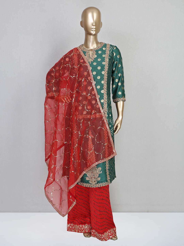 Green cotton silk wedding wear palazzo suit?imgeng=w_400