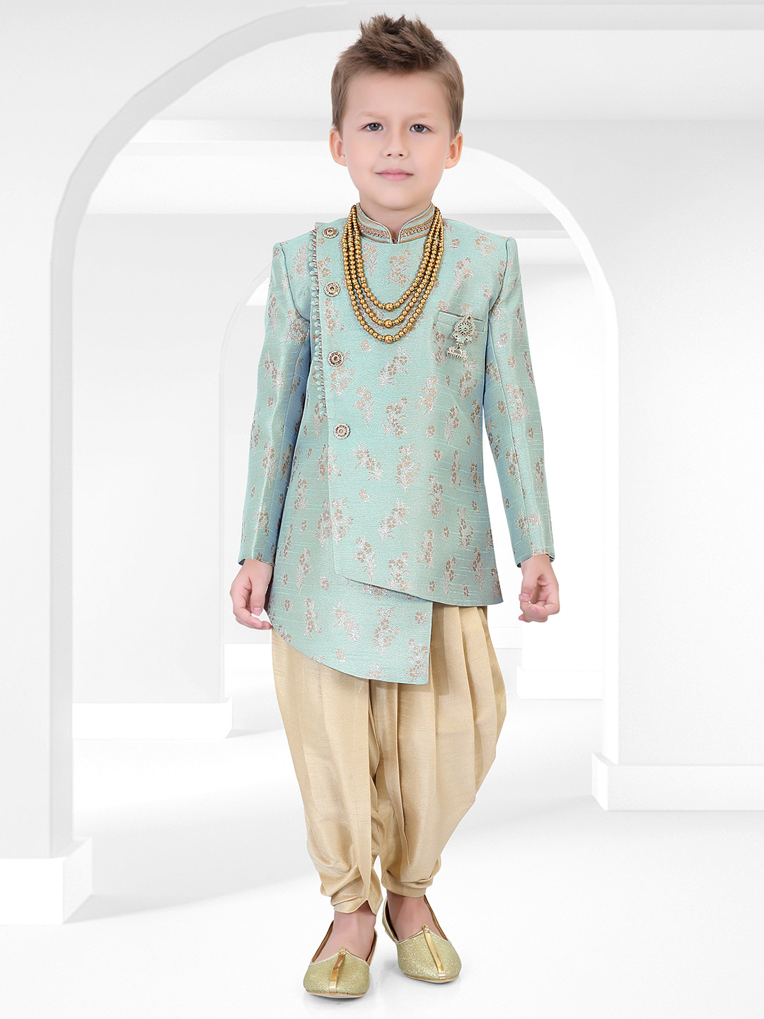 Green hue cotton silk fabric boys indo western for party?imgeng=w_400