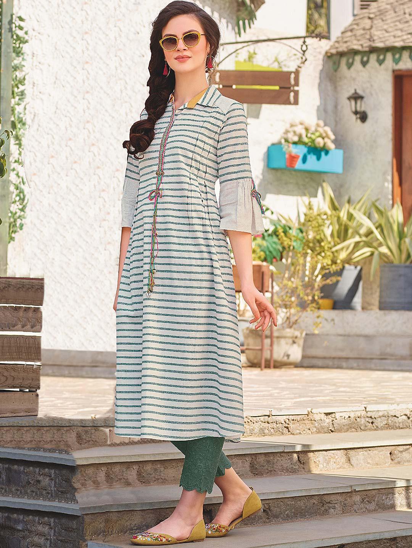 Green hue gorgeous cotton punjabi kurti?imgeng=w_400