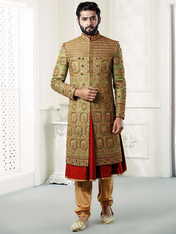 Green hued raw silk fabric groom sherwani?imgeng=w_400