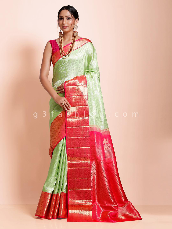 Green kanjivaram silk wedding function exclusive saree?imgeng=w_400