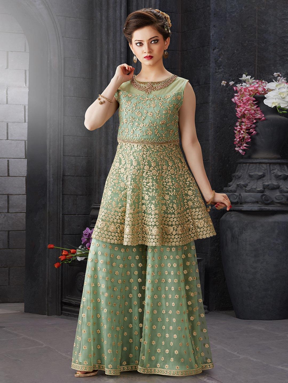 Green net designer party function punjabi sharara suit?imgeng=w_400