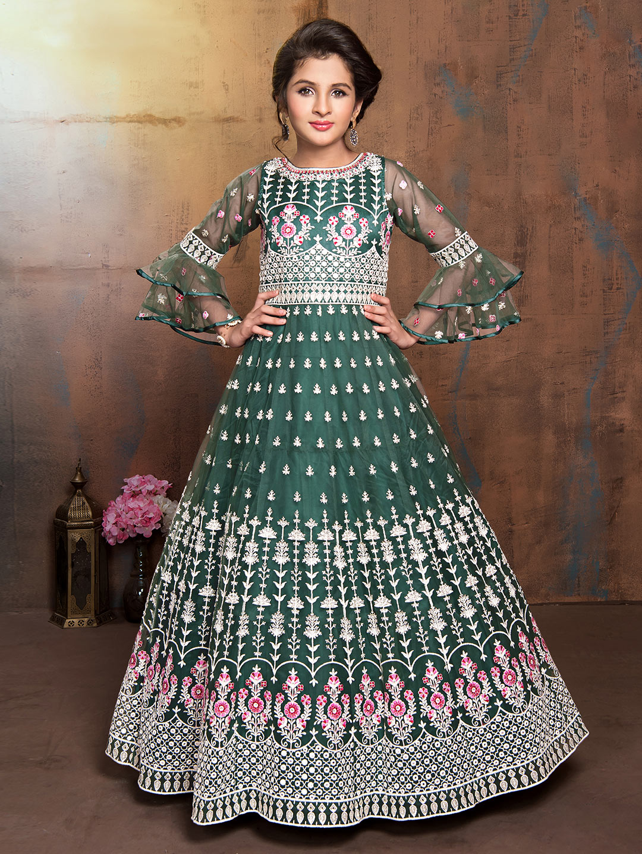 Green net wedding designer anarkali suit?imgeng=w_400