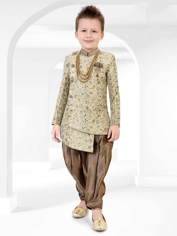 Green printed party wear cotton silk semi indo western?imgeng=w_400