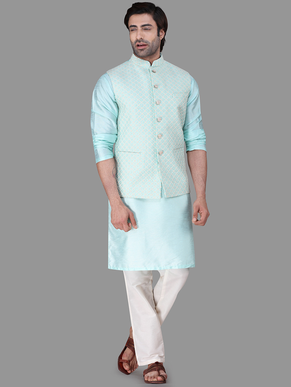 Green raw silk mens waistcoat set?imgeng=w_400