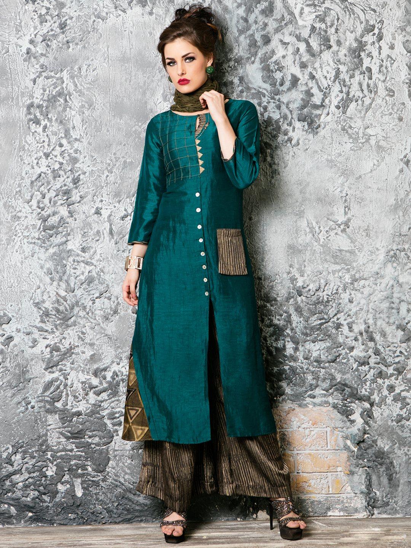 Green silk festive wear classy palazzo suit?imgeng=w_400