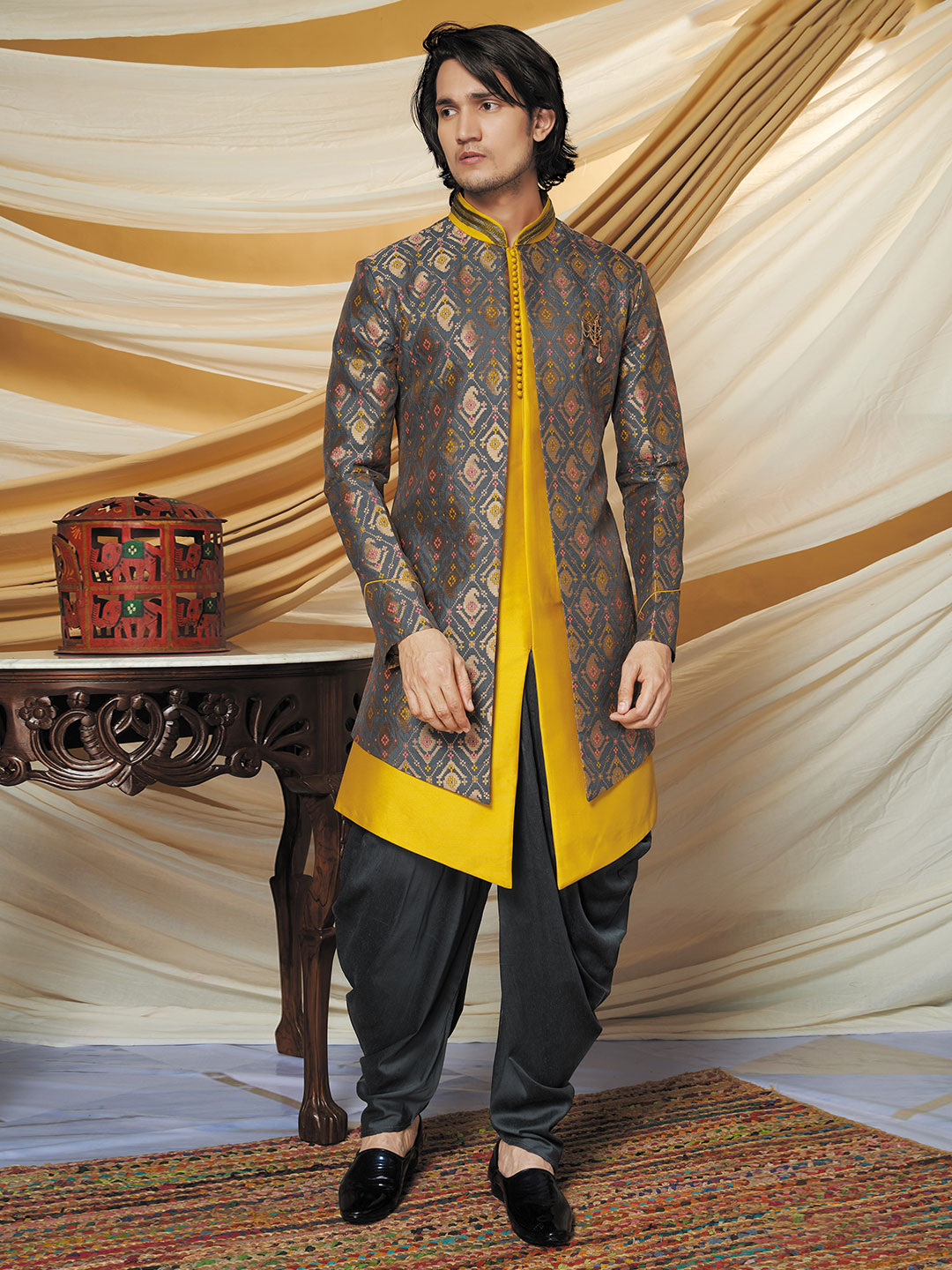 Grey and yellow printed indo western for wedding function?imgeng=w_400