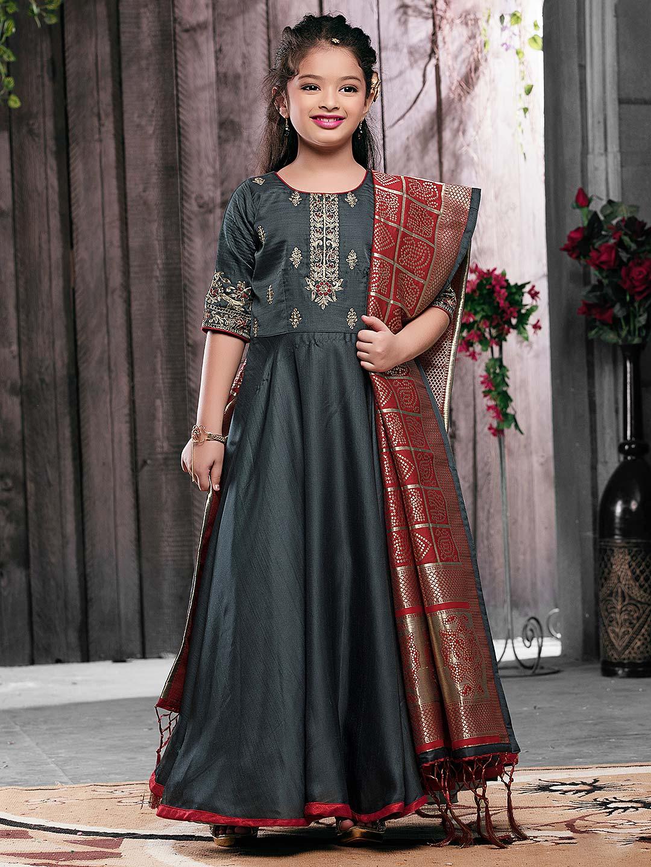Grey color raw silk floor length anarkali salwar suit?imgeng=w_400