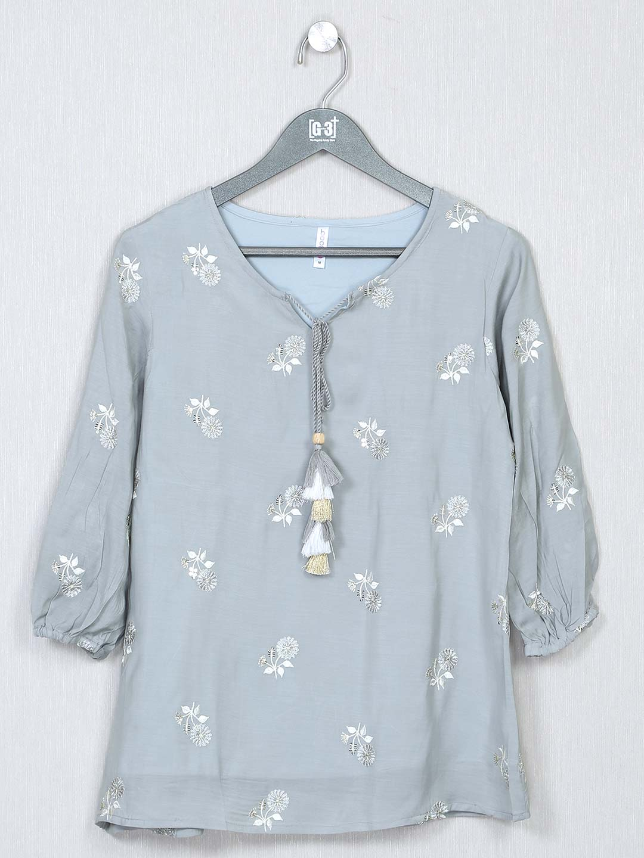 Grey cotton casual top for women?imgeng=w_400
