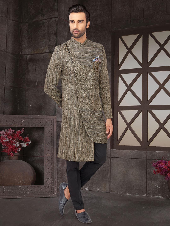 Grey cotton silk indo western for wedding?imgeng=w_400