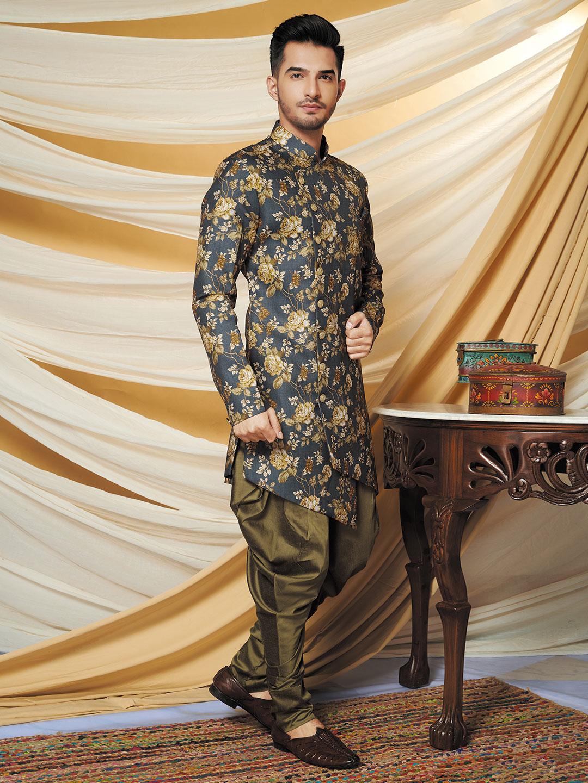 Grey cotton silk wedding wear indo western?imgeng=w_400