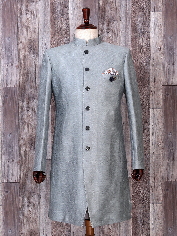 Grey hue silk indo western for wedding function?imgeng=w_400