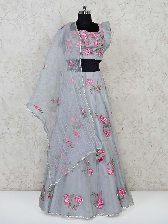 Grey net wedding function lehenga choli?imgeng=w_400