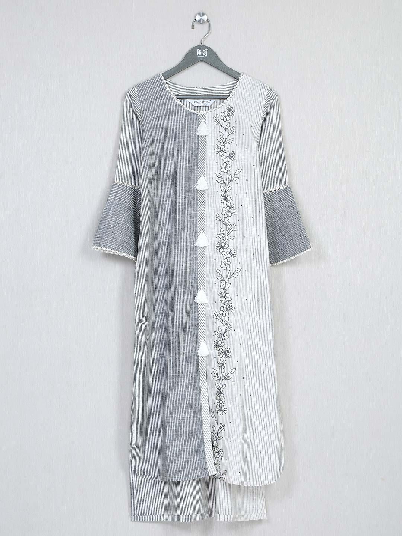 Grey printed cotton casual kurti for women?imgeng=w_400