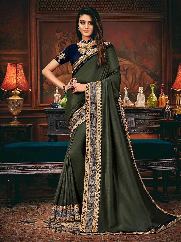 Grey satin silk wedding wear saree?imgeng=w_400