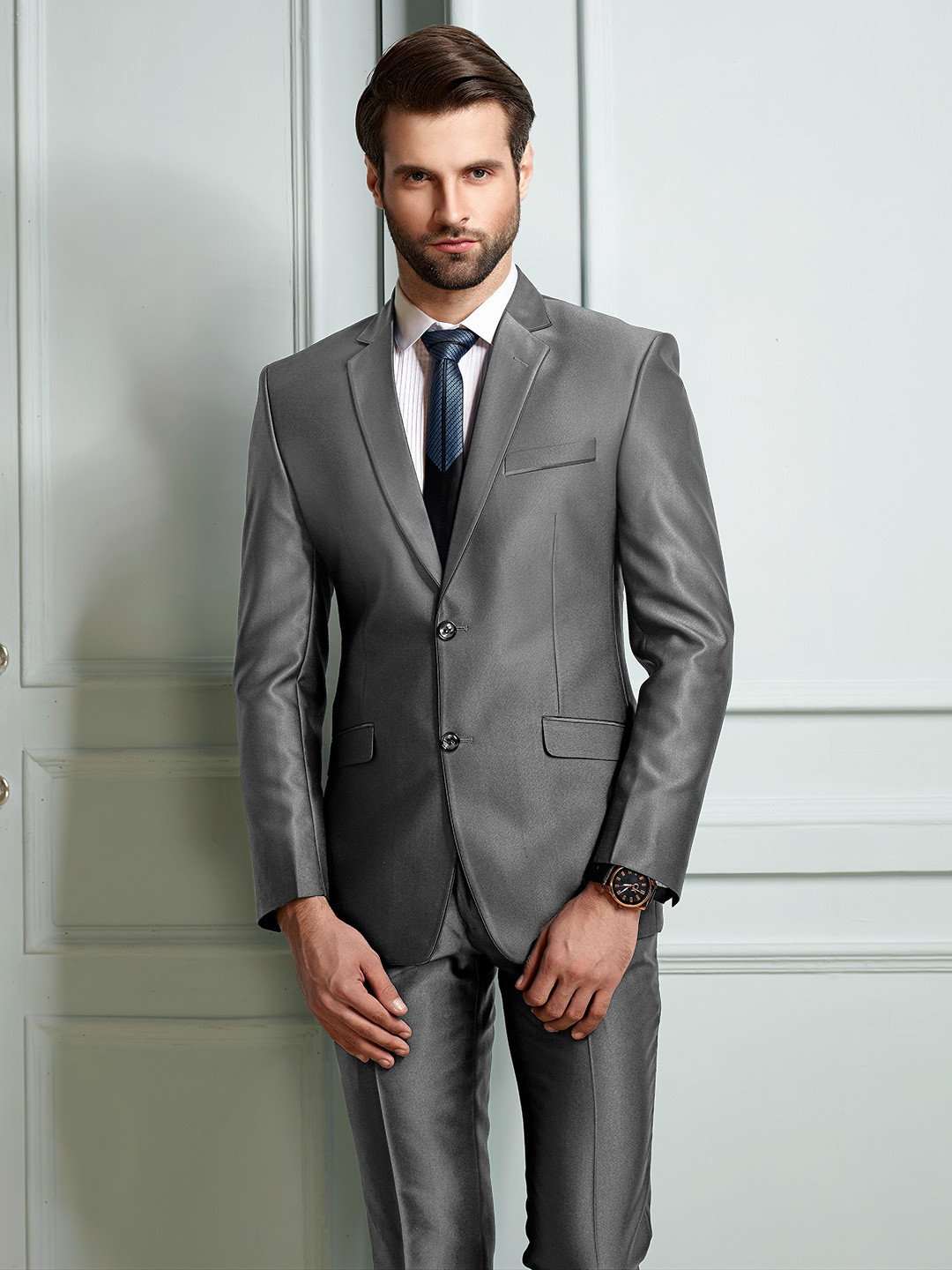 Grey terry rayon fabric two buttoned coat suit?imgeng=w_400