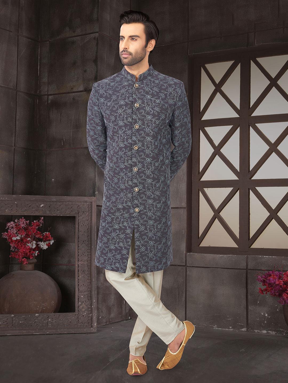 Grey wedding function cotton silk semi indo western?imgeng=w_400