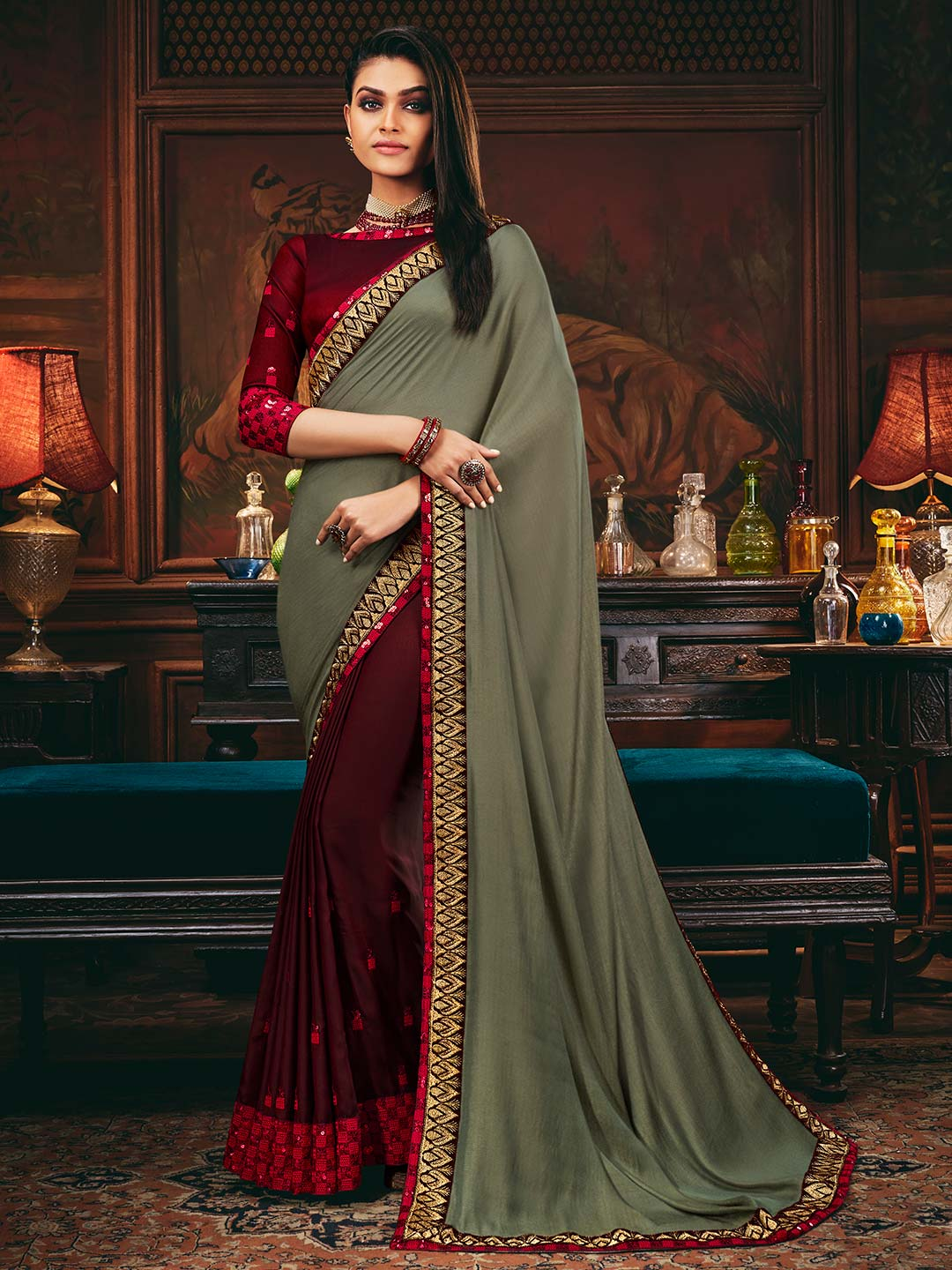 Half and half satin and georgette saree in wine and grey color?imgeng=w_400