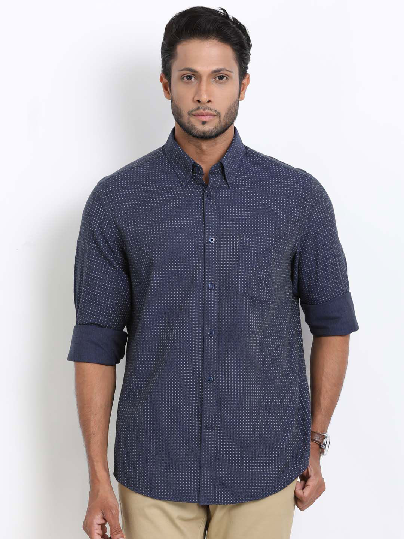Indian Terrain printed slim fit navy shirt?imgeng=w_400