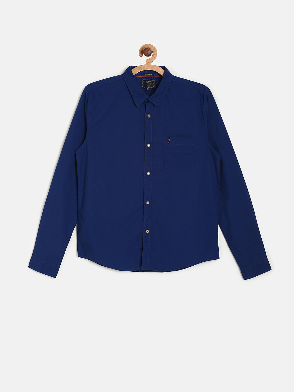 Indian Terrain royal blue solid shirt?imgeng=w_400