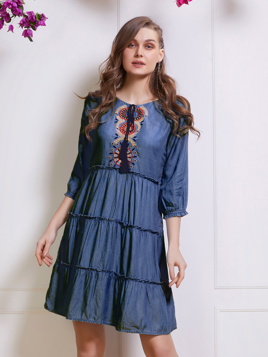 Indigo casual layered top with bell sleeves?imgeng=w_400