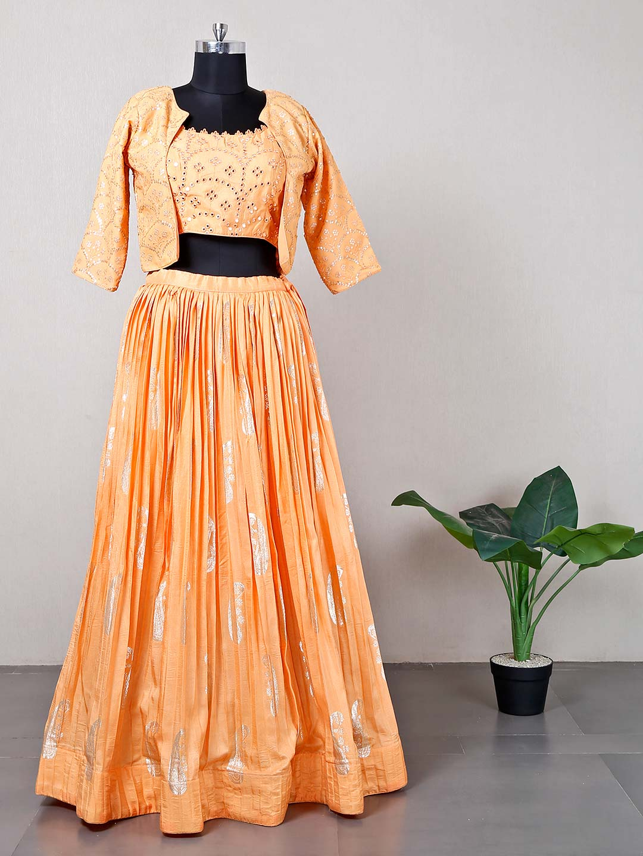 Jacket style peach reception wear lehenga choli?imgeng=w_400