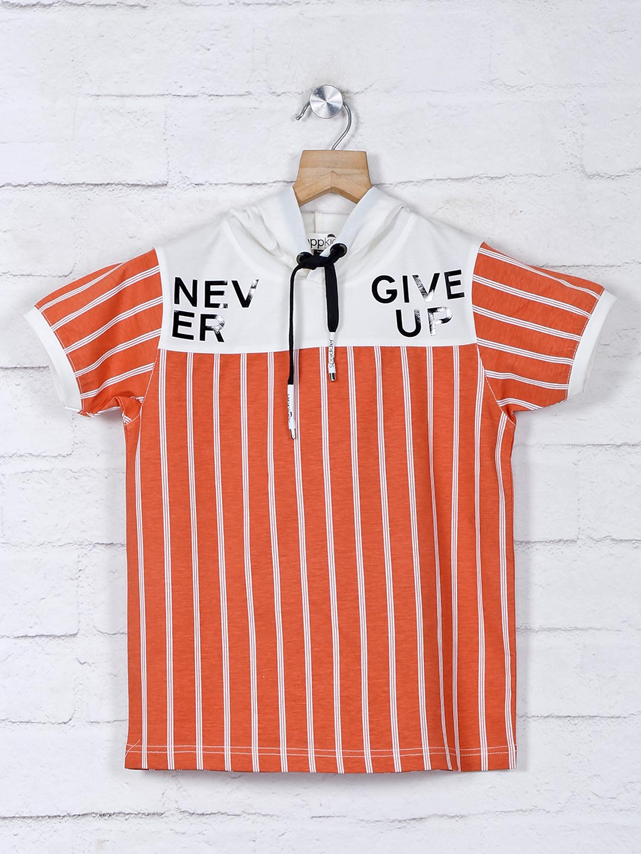 Jappkids rust orange casual wear stripe t-shirt?imgeng=w_400