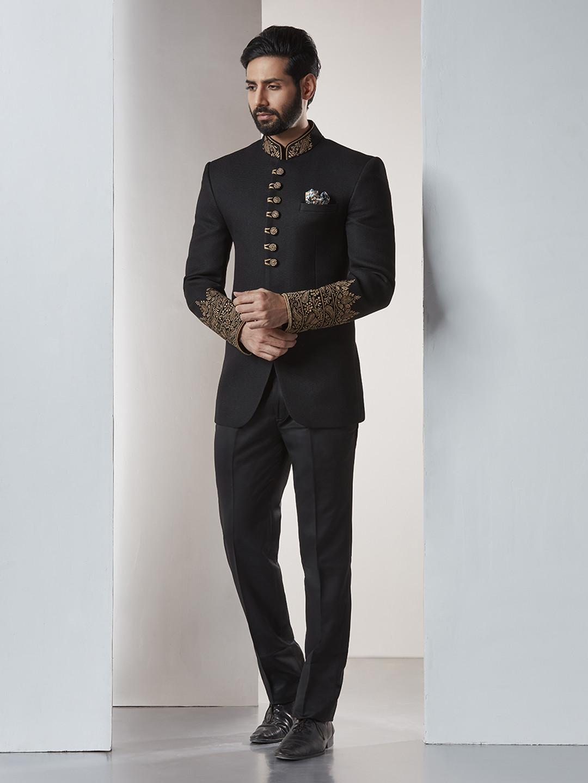 Jet black bandhgala jodhpuri suit?imgeng=w_400
