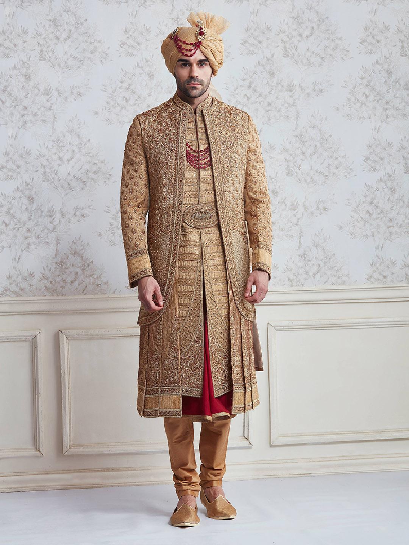 Jute beige wedding wear designer sherwani?imgeng=w_400