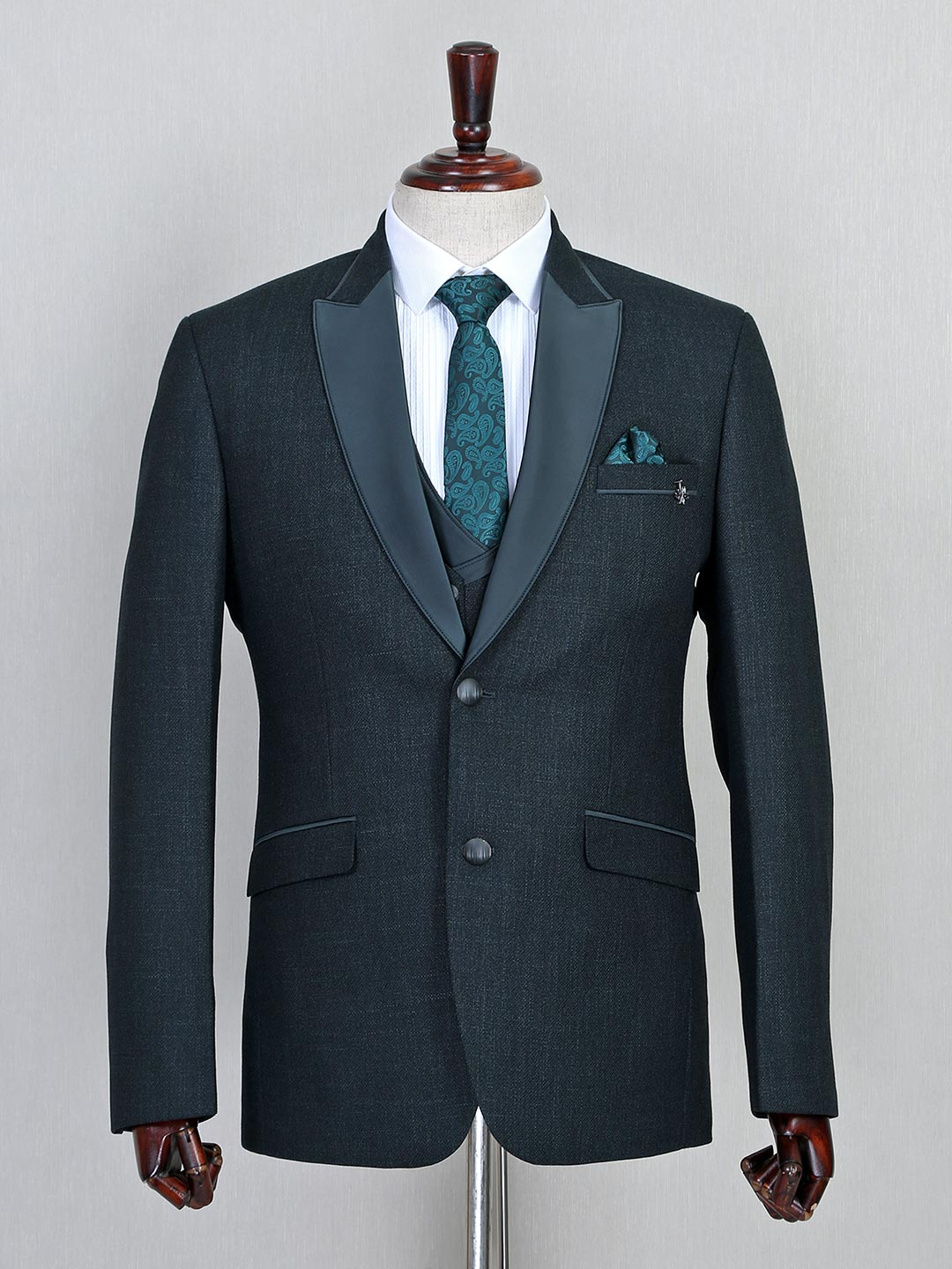 Jute fabric green three piece coat suit for parties?imgeng=w_400