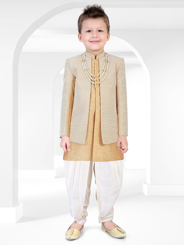 Khaki hue cotton silk fabric party wear indo western?imgeng=w_400