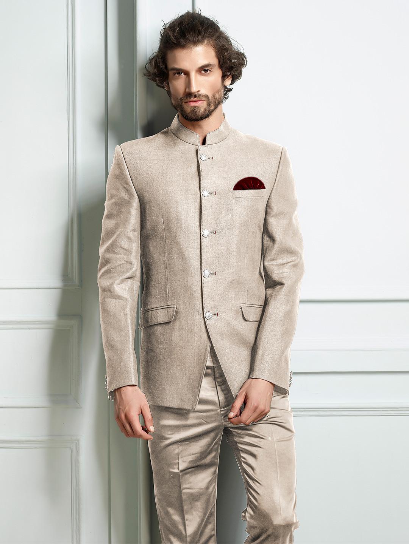 Khaki hue solid mens lenin jodhpuri suit?imgeng=w_400