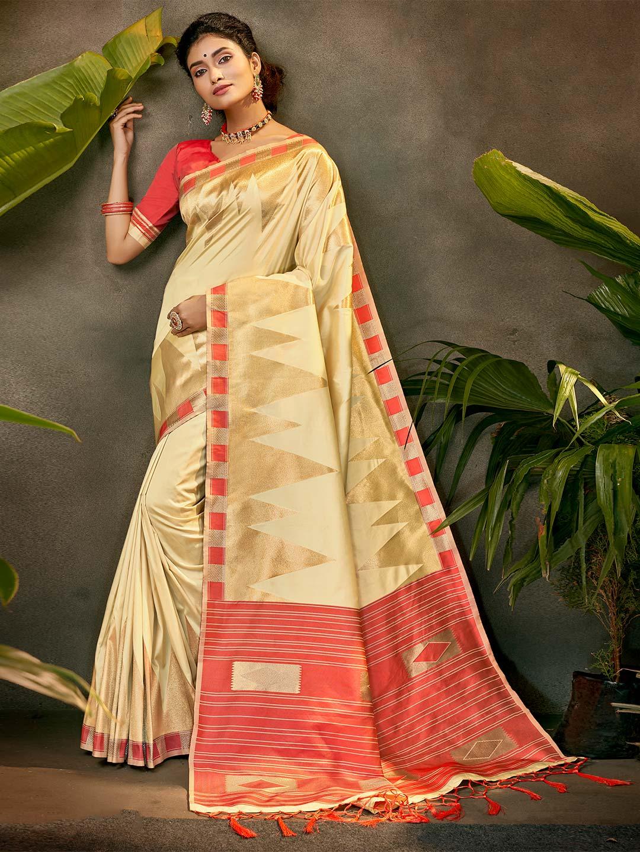 Latest beige silk party wear saree?imgeng=w_400