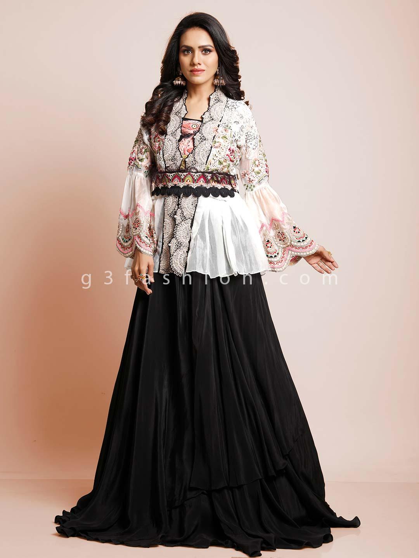 Latest black and white peplum style indowestern suit?imgeng=w_400