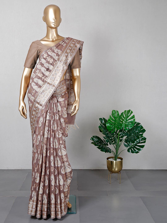 Latest brown banarasi cotton silk saree for festives?imgeng=w_400