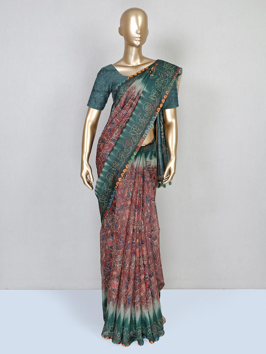 Latest brown printed festive wear saree in cotton?imgeng=w_400