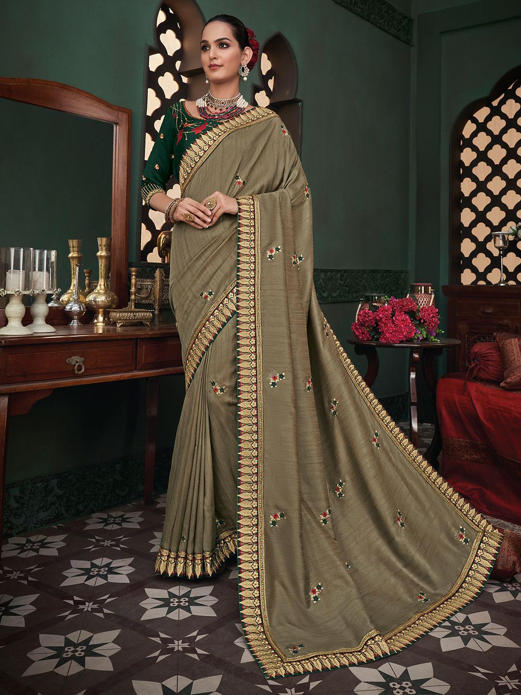 Latest designer raw silk festive wear sari in beige?imgeng=w_400