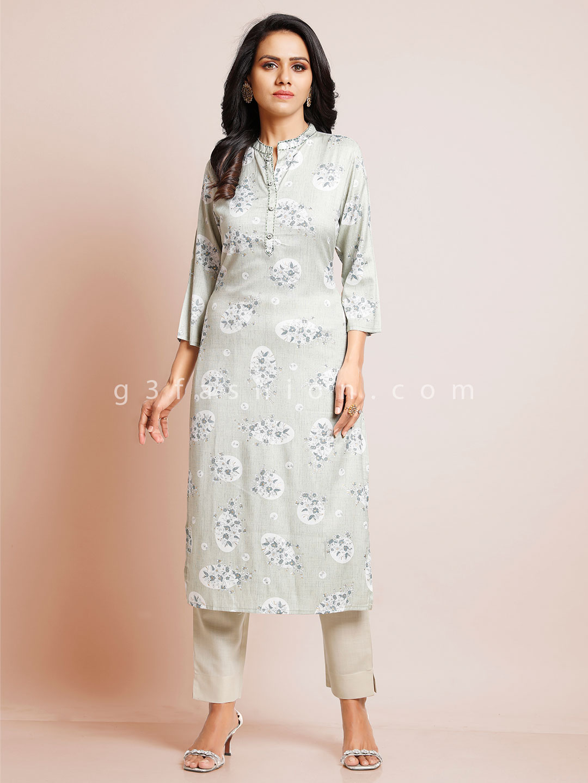 Latest grey cotton kurti for women?imgeng=w_400