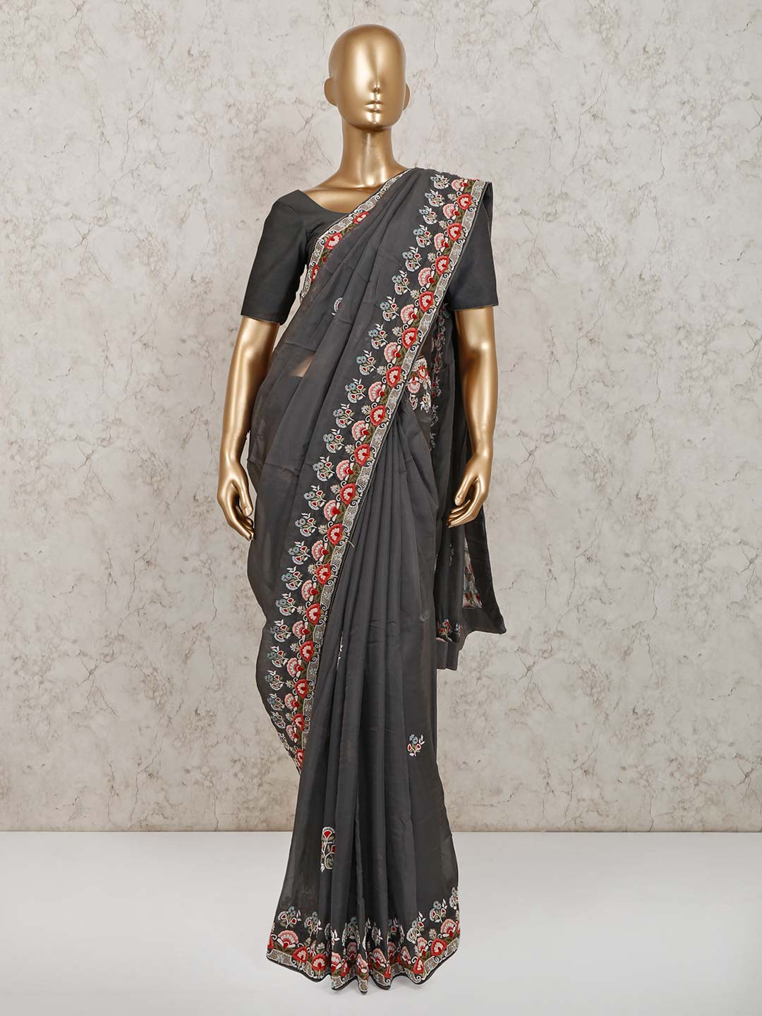 Latest grey tissue silk saree for party?imgeng=w_400