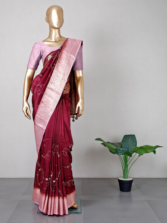 Latest maroon silk saree for weddings?imgeng=w_400