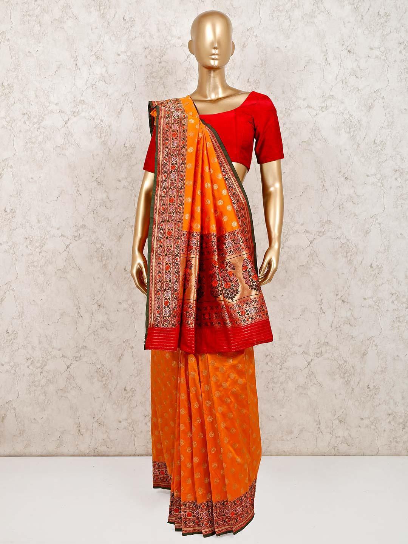 Latest orange banarasi silk saree for weddings?imgeng=w_400