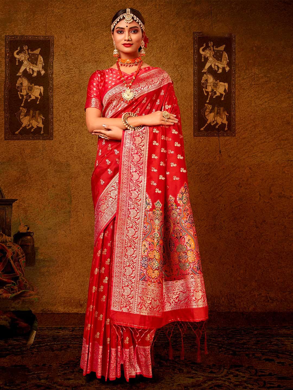 Latest orange banarasi silk wedding wear saree?imgeng=w_400