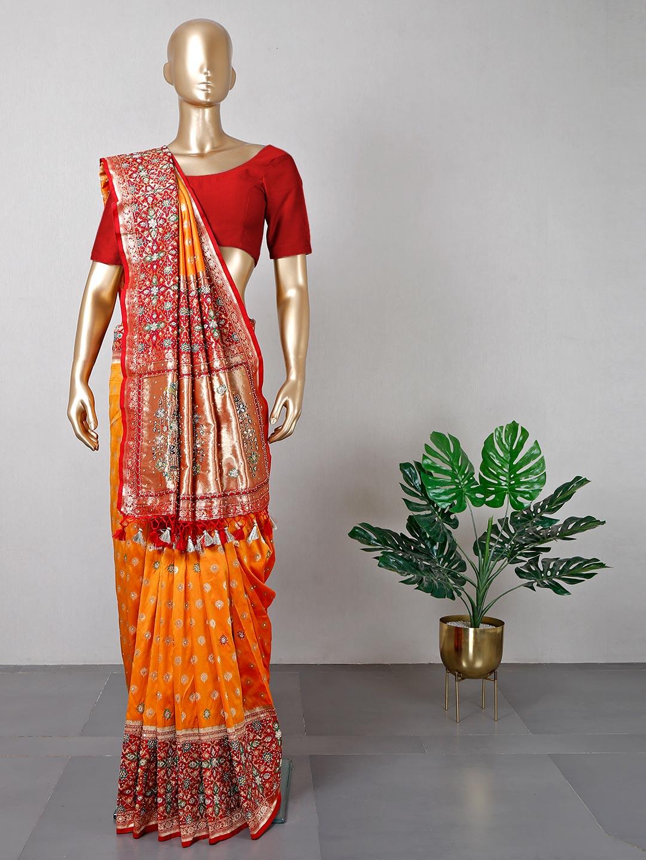 Latest orange cotton silk wedding saree?imgeng=w_400