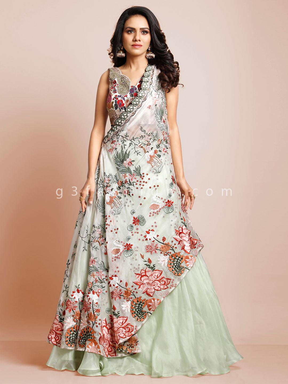 Latest pista green raw silk designer wedding lehenga choli?imgeng=w_400